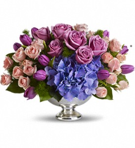 Teleflora's Purple Elegance Centerpiece in Niagara Falls NY, Evergreen Floral