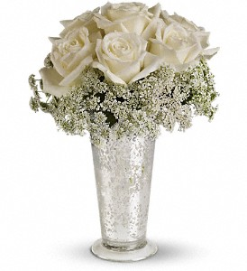 Teleflora's White Lace Centerpiece in Highland CA, Hilton's Flowers