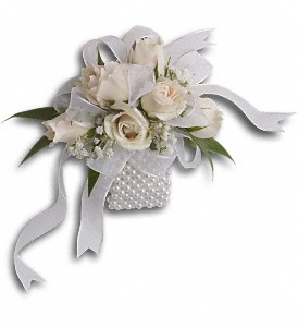 White Whisper Wristlet in Patchogue NY, Mayer's Flower Cottage