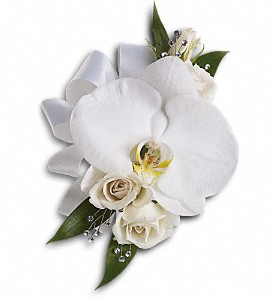 White Orchid and Rose Corsage in Fairfield CA, Flower Basket