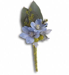 Hero's Blue Boutonniere in Denton TX, Holly's Gardens and Florist