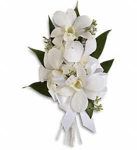 Graceful Orchids Corsage in Evergreen CO, The Holly Berry