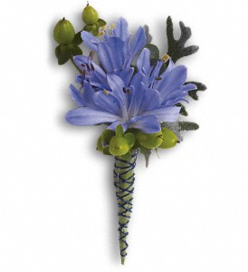 Bold and Blue Boutonniere in Modesto CA, The Country Shelf Floral & Gifts