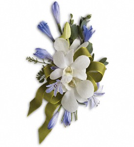Blue and White Elegance Corsage in Des Moines IA, Irene's Flowers & Exotic Plants
