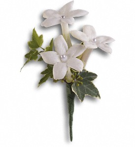 White Gloves Boutonniere in North Manchester IN, Cottage Creations Florist & Gift Shop