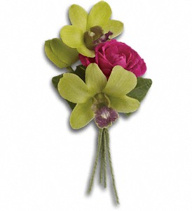 Orchid Celebration Boutonniere in Modesto CA, The Country Shelf Floral & Gifts