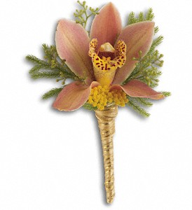 Sunset Orchid Boutonniere in Rochester NY, Red Rose Florist & Gift Shop