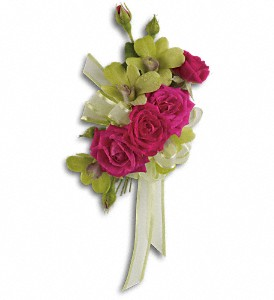 Chic and Stunning Corsage in Bakersfield CA, White Oaks Florist