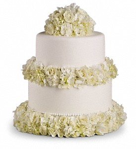 Sweet White Cake Decoration in San Bruno CA, San Bruno Flower Fashions