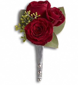 King's Red Rose Boutonniere in Hilton NY, Justice Flower Shop