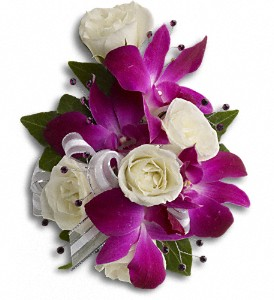 Fancy Orchids and Roses Wristlet in Mississauga ON, Applewood Village Florist
