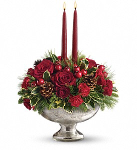 Teleflora's Mercury Glass Bowl Bouquet in Redwood City CA, A Bed of Flowers
