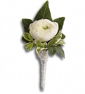 Blissful White Boutonniere in Hilton NY, Justice Flower Shop