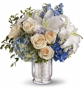 Teleflora's Seaside Centerpiece in Hendersonville NC, Forget-Me-Not Florist