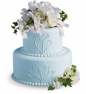 Sweet Pea and Roses Cake Decoration in Staten Island NY, Evergreen Florist