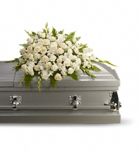 Silken Serenity Casket Spray in Hamilton OH, Gray The Florist, Inc.