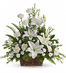 Peaceful White Lilies Basket in Bloomington IL, Forget Me Not Flowers