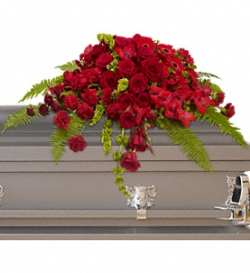 Red Rose Sanctuary Casket Spray in Moorhead MN, Country Greenery