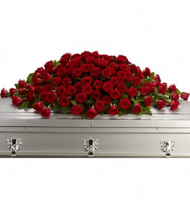 Greatest Love Casket Spray in Trumbull CT, P.J.'s Garden Exchange Flower & Gift Shoppe