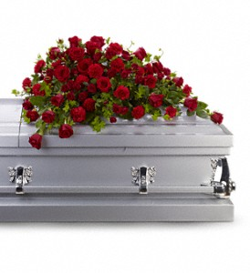 Red Rose Reverence Casket Spray in Osceola IA, Flowers 'N More