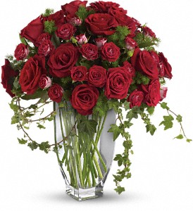 Teleflora's Rose Romanesque Bouquet - Red Roses in Thorold ON, A Yellow Flower Basket