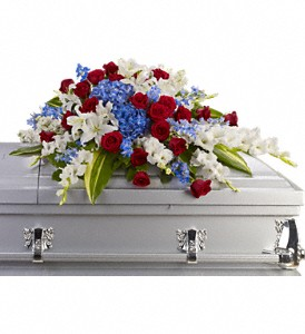 Distinguished Service Casket Spray in Moorhead MN, Country Greenery