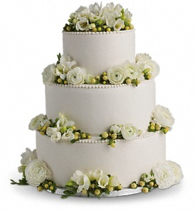 Freesia and Ranunculus Cake Decoration in Winthrop MA, Christopher's Flowers