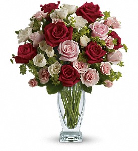 Cupid's Creation with Red Roses by Teleflora in The Woodlands TX, Rainforest Flowers