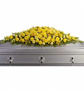 Golden Garden Casket Spray in Benton Harbor MI, Crystal Springs Florist