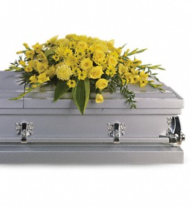 Graceful Grandeur Casket Spray in Eugene OR, Dandelions Flowers