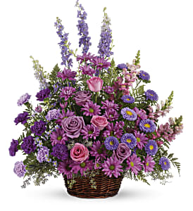 Gracious Lavender Basket in Bloomington IL, Forget Me Not Flowers