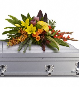 Island Memories Casket Spray in St. Petersburg FL, Artistic Flowers