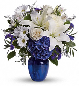 Beautiful in Blue in Columbus IN, Fisher's Flower Basket