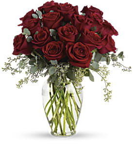 Forever Beloved - 30 Long Stemmed Red Roses in Thorold ON, A Yellow Flower Basket