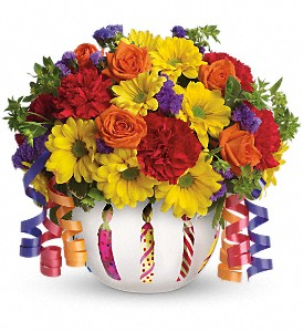 Teleflora's Brilliant Birthday Blooms in Austintown OH, Crystal Vase Florist