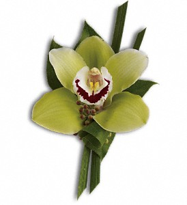 Green Orchid Boutonniere in Bluffton IN, Posy Pot