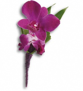 Perfect Purple Orchid Boutonniere in Hornell NY, Doug's Flower Shop