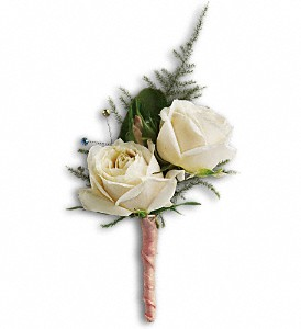 White Tie Boutonniere in Modesto CA, The Country Shelf Floral & Gifts