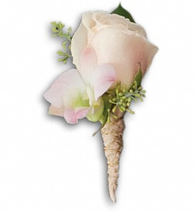 Dashing Boutonniere in White Stone VA, Country Cottage