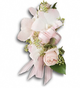 Beautiful Blush Corsage in Evergreen CO, The Holly Berry