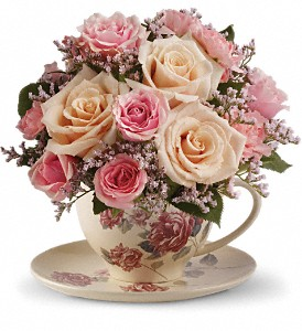 Teleflora's Victorian Teacup Bouquet in Hollister CA, Barone's Westlakes Balloons and Gifts