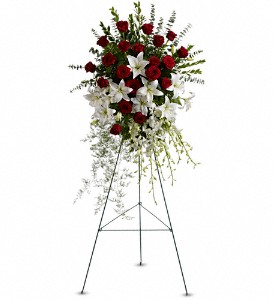 Lily and Rose Tribute Spray in Abington MA, The Hutcheon's Flower Co, Inc.