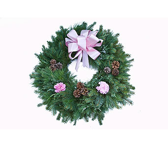 Pink Evergreen Cemetery Wreaths  in Mount Morris MI, June's Floral Company & Fruit Bouquets