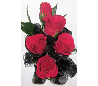 Hot Pink Spray Roses with Black Wrist Corsage in Wyoming MI, Wyoming Stuyvesant Floral