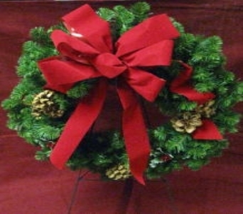 24in Permanent Botanical Evergreen Wreath in Waukegan IL, Larsen Florist
