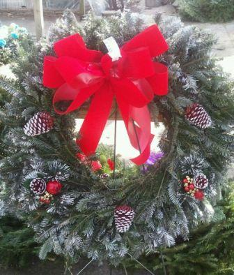 Wreath w/ Velvet bow in Westland MI, Westland Florist & Greenhouse