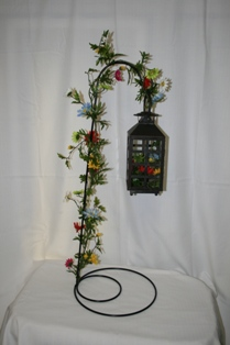 Small lantern with silk garland and silk flowers in Lebanon OH, Aretz Designs Uniquely Yours