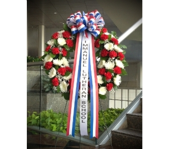 30 INCH RED WHITE AND BLUE WREATH in Arlington VA, Twin Towers Florist