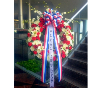 36 INCH RED WHITE & BLUE WREATH - DELUXE in Arlington VA, Twin Towers Florist