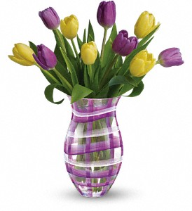 Teleflora's Lavender Plaid Tulip Bouquet in Oklahoma City OK, Array of Flowers & Gifts